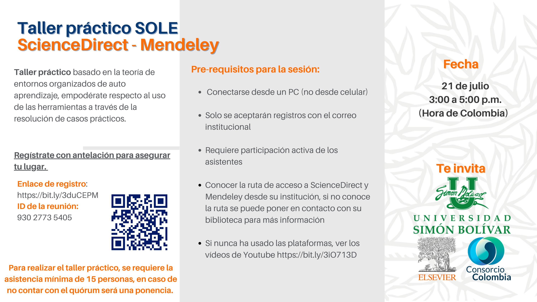 Taller Practico SOLE Virtual de ScienceDirect & Mendeley